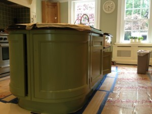 Floor protection required when hand painting kitchen units